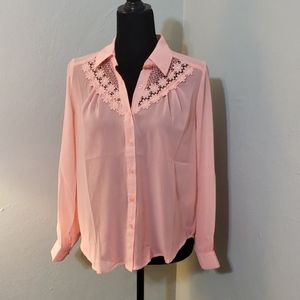 🦄 Pearl sheer pink lace collar blouse button…